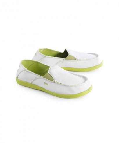Mocassins toile chaussures bateau blanc