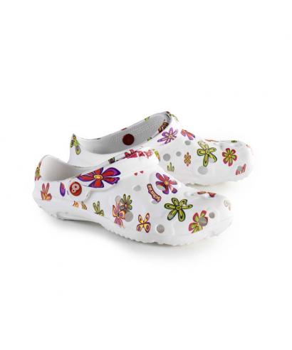 Sabots plastique style Crocs hospitalier, infirmières , aide soignante. Imprimés avec un motif à fleurs