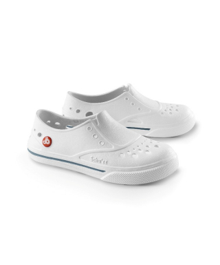 Chaussures plastique Schuzz style basket pour infirmière, thermes, thalasso blanc et gris